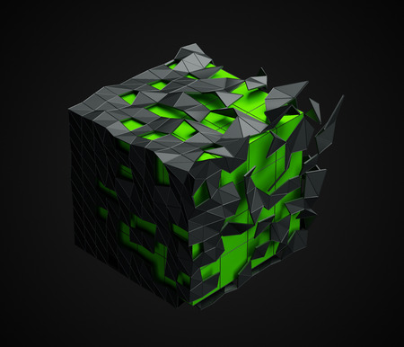 Abstract 3d rendering of low poly cube with chaotic structure. Sci-fi background with polygonal shape in empty space. Futuristic design. Stock Photo