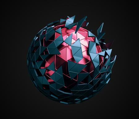forme geometrique: Abstract 3d rendu faible sphère poly avec une structure chaotique. Sci-fi fond de forme polygonale dans un espace vide. Design futuriste.
