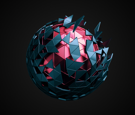 Abstract 3d rendering of low poly sphere with chaotic structure. Sci-fi background with polygonal shape in empty space. Futuristic design. Foto de archivo