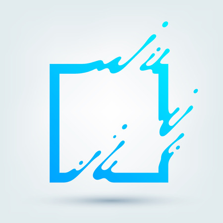 Vector illustration of abstract blue square. Abstract splash, liquid shape. Background for poster, cover, banner, placard. design