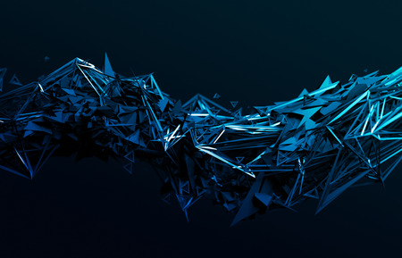 blue lines: Abstract 3d rendering of chaotic surface. Contemporary background with futuristic polygonal shape. Distorted low poly object with sharp lines.