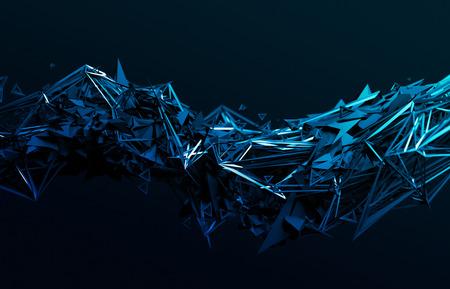 Abstrakt 3D-Rendering von chaotischen Oberfläche. Moderne Hintergrund mit futuristischen polygonale Form. Low-Poly-Objekt mit scharfen Linien verzerrt.