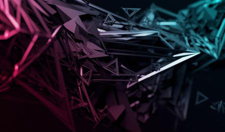 混沌とした表面の 3 d レンダリングを抽象化します。未来的な多角形で現代的な背景は。シャープなラインと歪んだ低ポリゴンのオブジェクト。