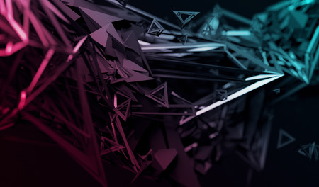 Abstract 3d rendering of chaotic surface. Contemporary background with futuristic polygonal shape. Distorted low poly object with sharp lines. Stok Fotoğraf - 65707265