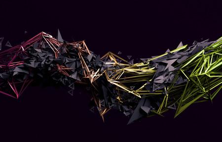Abstrakt 3D-Rendering von chaotischen Oberfläche. Moderne Hintergrund mit futuristischen polygonale Form. Low-Poly-Objekt mit scharfen Linien verzerrt. Standard-Bild - 65707446