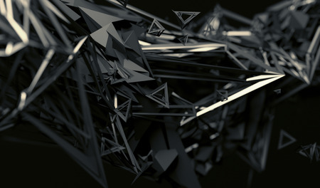 distorted: Abstract 3d rendering of chaotic surface. Contemporary background with futuristic polygonal shape. Distorted low poly object with sharp lines.