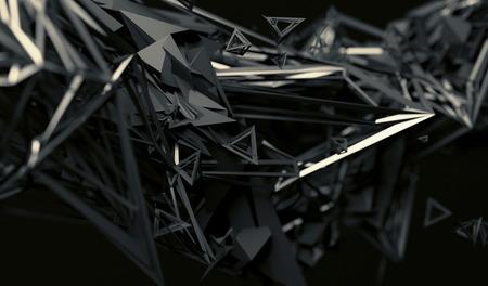 forme geometrique: Abstract 3d rendu de surface chaotique. fond contemporain avec forme polygonale futuriste. Déformé bas objet poly avec des lignes nettes. Banque d'images
