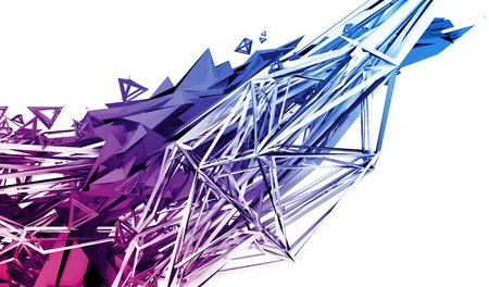 混沌とした神経叢表面の 3 d レンダリングを抽象化します。未来的な多角形で現代的な背景は。シャープなラインと歪んだ低ポリゴンのオブジェクト