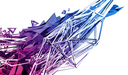 Abstract 3d rendering of chaotic plexus surface. Contemporary background with futuristic polygonal shape. Distorted low poly object with sharp lines. Imagens