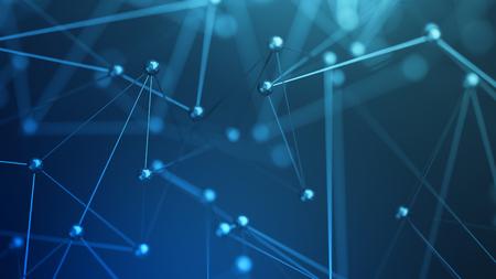Abstract 3d rendu de la structure chaotique. Plexus fond avec des lignes et des sphères polygonales dans l'espace vide. forme futuriste. concept de réseau. Design moderne pour bannière, affiche, affiche.