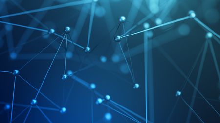 Abstrakt 3D-Rendering von chaotischen Struktur. Plexus Hintergrund mit Linien und polygonal Kugeln im leeren Raum. Futuristische Form. Netzwerk-Konzept. Modernes Design für Banner, Poster, Plakat. Standard-Bild - 67150432