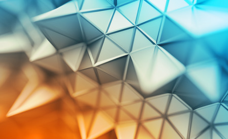 Abstract 3d rendering of triangulated surface. Contemporary background. Futuristic polygonal shape. Distorted low poly backdrop with sharp lines. Design for poster, banner, placard.