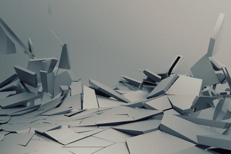 ひびの入った表面の 3 d レンダリングを抽象化します。壊れた図形と背景。壁破壊。破片にあふれています。モダンな cgi の図。ポスター、バナー、