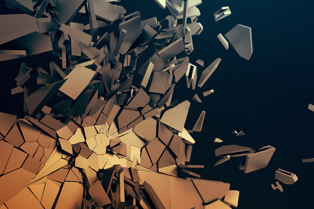rendering: Abstract 3d rendering of cracked surface. Background with broken shape. Wall destruction. Bursting with debris. Modern cgi illustration. Design for poster, banner, placard, cover, print.