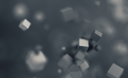 Abstract 3d rendering of chaotic cubes. Flying shapes in empty space. Dynamic background with bokeh, depth of field effect. Design for poster, banner, placard. Stock Photo