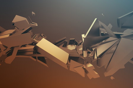 modern design: Abstract 3d rendering of cracked surface. Background with broken shape. Wall destruction. Bursting with debris. Modern cgi illustration. Design for poster, banner, placard, cover, print.