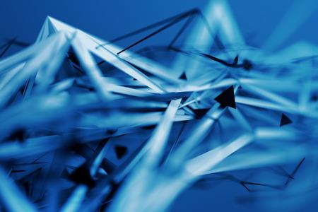 Estratto rendering 3D di superficie plesso caotica. Priorità bassa contemporanea con forma poligonale futuristico. Distorto partire oggetto poli con linee taglienti. Design per poster, banner, cartello. Archivio Fotografico - 74304323