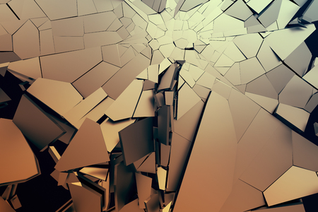 Abstract 3d rendering of cracked surface. Background with broken shape. Wall destruction. Bursting with debris. Modern cgi illustration. Design for poster, banner, placard, cover, print.
