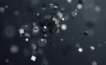 Abstract 3d rendering of chaotic cubes. Flying shapes in empty space. Dynamic background with bokeh, depth of field effect. Design for poster, banner, placard. Banco de Imagens