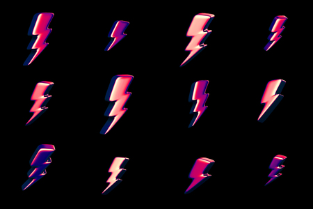 Illustration of lightning symbols. Abstract 3d redering. Background design for poster, banner, placard.