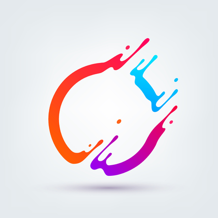 Vector illustration. Abstract colorful circle. Dynamic splash liquid shape. Background for poster, cover, banner, placard. Logo design  イラスト・ベクター素材