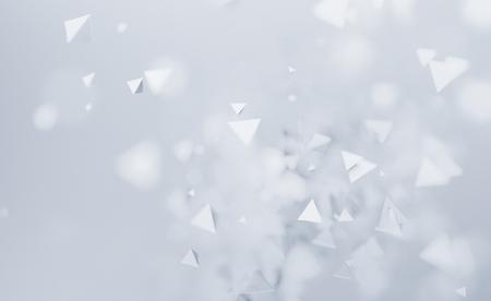 カオスの低ポリ図形の 3 d レンダリングを抽象化します。空の領域に多角形のピラミッドを飛んでいます。未来の背景ボケ効果に。ポスター デザイ
