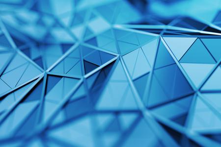 三角形の表面の 3d レンダリングを抽象化します。現代的なバック グラウンド。未来的な多角形。シャープなラインと低ポリゴン背景を歪曲しました