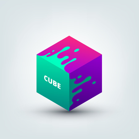 Vector illustration of abstract colored 3d cube. Abstract splash, liquid shape. Background for poster, cover, banner, placard. Logo design.