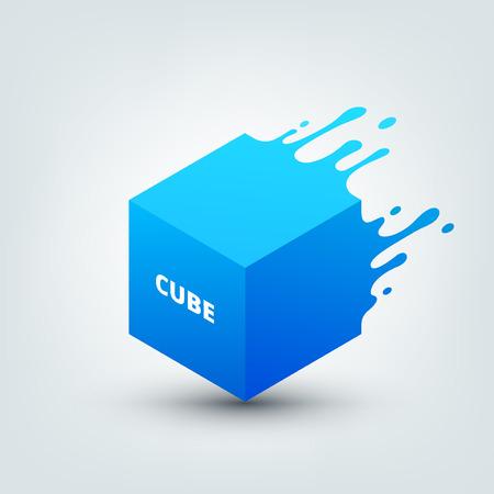 Vectorillustratie van abstracte gekleurde 3D-kubus. Abstracte plons, vloeibare vorm. Achtergrond voor poster, dekking, banner, aanplakbiljet. Logo ontwerp. Stock Illustratie