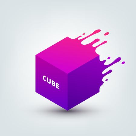 Illustration vectorielle de cube 3d coloré abstrait. Splash abstrait, forme liquide. Arrière-plan pour affiche, couverture, bannière, pancarte. Création de logo Logo