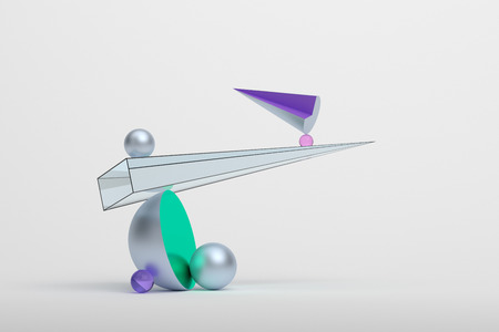 Abstract 3d rendering of geometric shapes. Surreal composition. Balance concept. Modern background design for poster, cover, branding, banner, placard. Banco de Imagens - 86183753