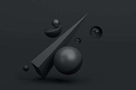 幾何学的図形の 3 d レンダリングを抽象化します。球成分。モダンな背景デザイン ポスター、カバー、ブランディング、バナー、プラカード。