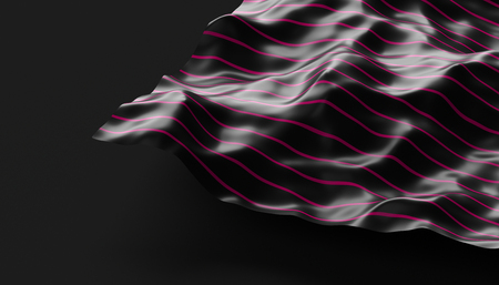Abstract 3d rendering of smooth surface with ripples, cloth with waves, modern background design for poster, cover, branding, banner, placard Stock Photo - 92593368