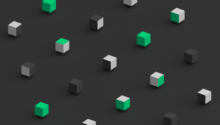 Abstract 3d rendering of geometric shapes. Computer generated minimalistic background with cubes. Modern design for poster, cover, branding, banner, placard Stock fotó - 94750848