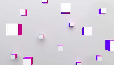 Abstract 3d rendering of geometric shapes. Modern colorful background with cubes. Minimalistic design for poster, cover, branding, banner, placard.