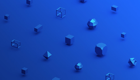 Abstract 3d rendering of geometric shapes. Computer generated minimalistic background with cubes. Modern design for poster, cover, branding, banner, placard