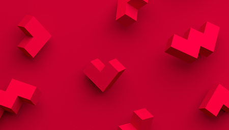 Abstract 3d rendering of geometric shapes. Modern background with simple forms. Minimalistic design for poster, cover, branding, banner, placard. Banco de Imagens