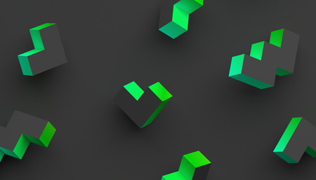 Abstract 3d rendering of geometric shapes. Modern background with simple forms. Minimalistic design for poster, cover, branding, banner, placard. Standard-Bild