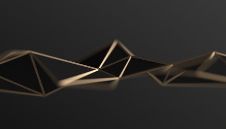 Abstract 3d rendering of triangulated surface. Modern background. Futuristic polygonal shape. Low poly minimalistic design for poster, cover, branding, banner, placard. Banque d'images