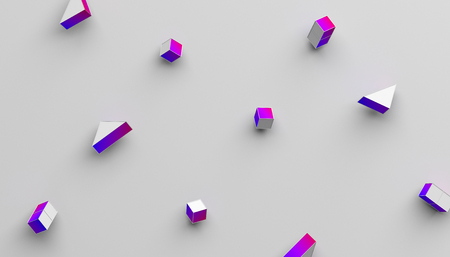 Abstract 3d rendering of geometric shapes. Modern background with simple forms. Minimalistic design with cubes and triangles, for poster, cover, branding, banner, placard. Stock Photo
