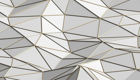 Abstract 3d rendering of triangulated surface. Modern background. Futuristic polygonal shape. Low poly minimalistic design for poster, cover, branding, banner, placard. Stock Photo