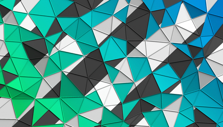 Abstract 3d rendering of triangulated surface. Modern background. Futuristic polygonal shape. Low poly minimalistic design for poster, cover, branding, banner, placard. 스톡 콘텐츠
