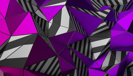 Abstract 3d rendering of triangulated surface. Modern background. Striped polygonal shape. Low poly minimalistic design for poster, cover, branding, banner, placard. 스톡 콘텐츠