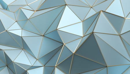 Abstract 3d rendering of triangulated surface. Modern background. Futuristic polygonal shape. Low poly minimalistic design for poster, cover, branding, banner, placard. Banco de Imagens