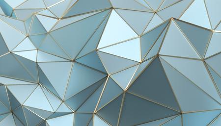 Abstraktes 3D-Rendering der triangulierten Oberfläche. Moderner Hintergrund. Futuristische polygonale Form. Low Poly minimalistisches Design für Poster, Cover, Branding, Banner, Plakat. Standard-Bild