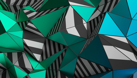 Abstract 3d rendering of triangulated surface. Modern background. Striped polygonal shape. Low poly minimalistic design for poster, cover, branding, banner, placard. Stock Photo