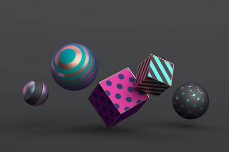 Abstrakte 3D-Wiedergabe von geometrischen Formen. Minimalistische Komposition. Moderner Hintergrundentwurf für Plakat, Umschlag, Branding, Fahne, Plakat.