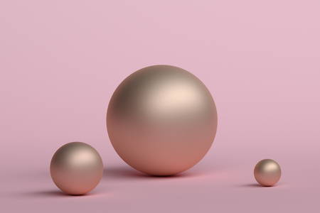 Abstract 3d rendering of geometric shapes. Minimalistic composition. Modern background design with spheres for poster, cover, branding, banner, placard. Stockfoto - 102891162