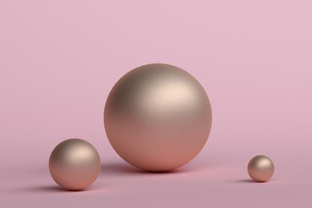 幾何学的形状の抽象的な3Dレンダリング。ミニマルな構成。ポスター、カバー、ブランディング、バナー、プラカードのための球体を持つモダンな背景デザイン。