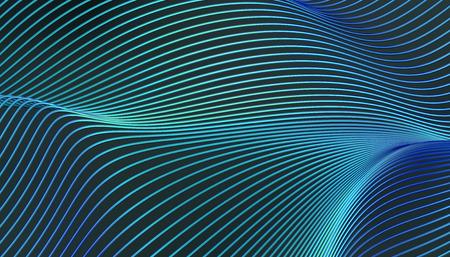 Rappresentazione astratta 3d della superficie liscia con linee. Design moderno a strisce di sfondo per poster, copertina, branding, banner, cartello Archivio Fotografico